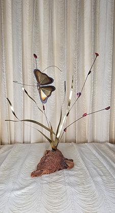 """Brass and Burlwood Butterfly Sculpture 19"""""""
