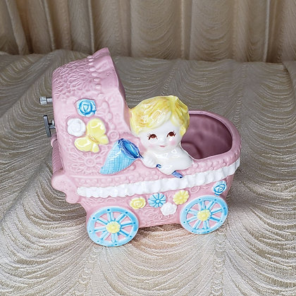 Baby Carriage Planter with Music Box