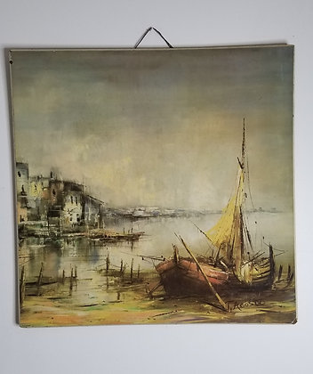 "T. Acosta Sailboat Harbor Scene 24""Litho on Board"