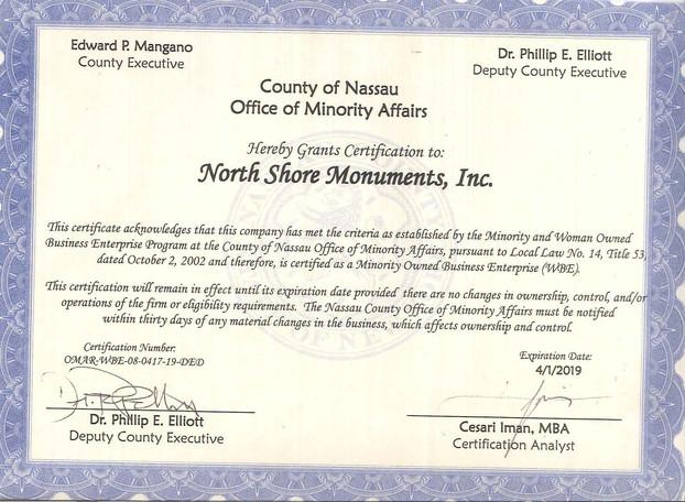 Nassau MWBE Certificate