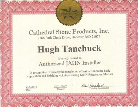 Cathedral Stone Jahn Installer Certificate
