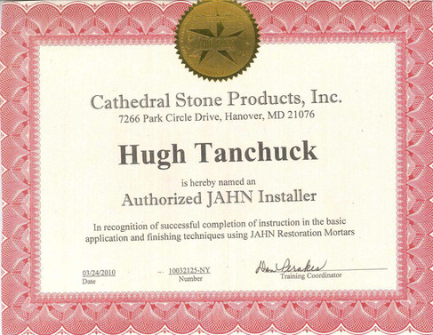 Cathedral Stone Jahn Installer Certificate