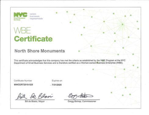 NYC WBE Certificate