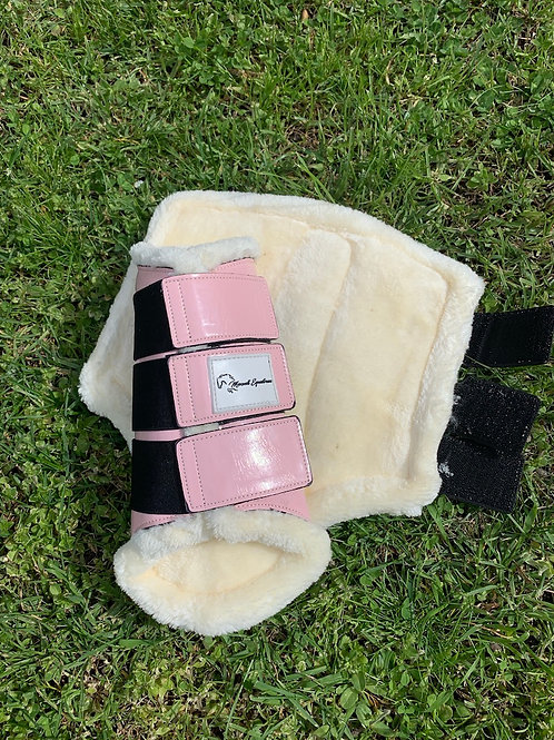 Dusty Pink Patent Brushing Boots
