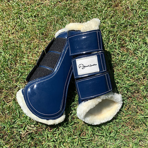 Navy Patent Brushing Boots