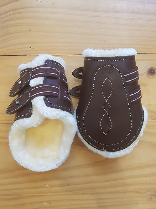 Brown Fleece Lined Leather Fetlock Boots