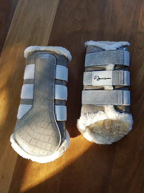 Soft Grey Croc Print Bling Brushing Boots