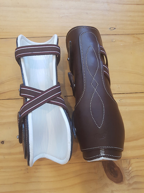 Brown & White Leather Tendon Boots