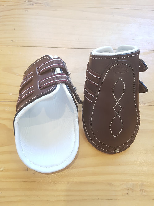 Brown & White Leather Fetlock Boots