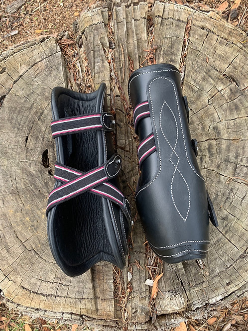 Black Leather Tendon Boots