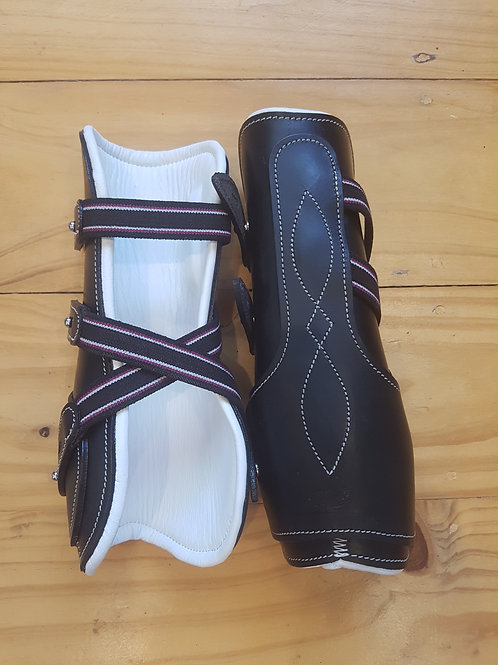 Black & White Leather Tendon Boots