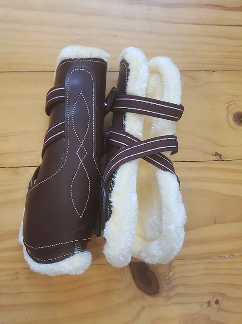 Brown Fleece Lined Leather Tendon Boots