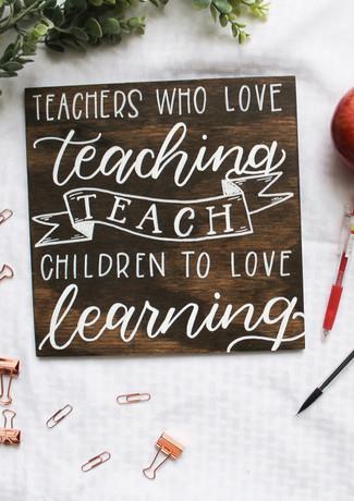Teacher Appreciation Sign on Wood