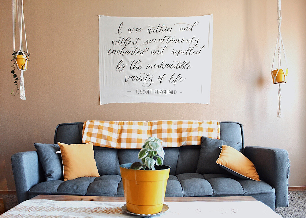 Custom hand-lettered tapestry designed by Emily Elle Designs in Wichita, KS
