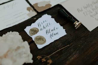 Wedding Place Cards with Gold Wax Seals and calligraphy by Emily Elle Designs