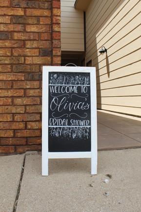 Bridal Shower Welcome Sign on Chalkboard