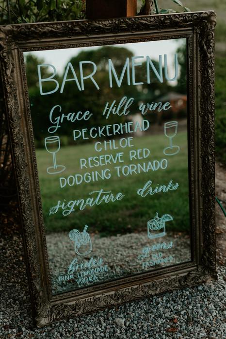 Custom Wedding Bar Sign on Mirror