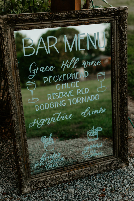 Custom Wedding Bar Sign on Mirror