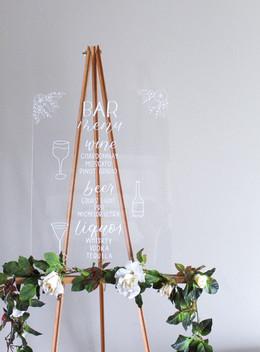Custom Acrylic Wedding Bar Menu by Emily Elle Designs
