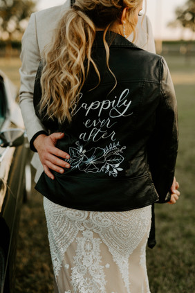 Happily Ever After Leather Jacket with Floral Designs