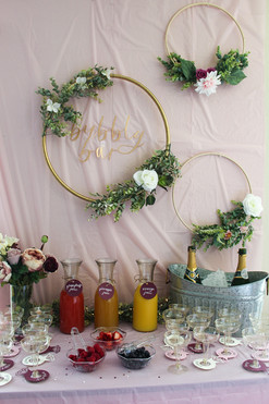 Bubbly Bar cut-out sign and mimosa bar set-up for bridal shower