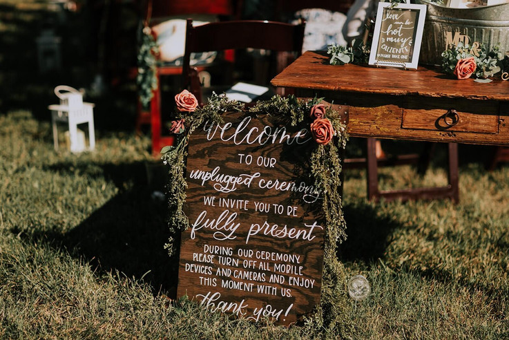 Unplugged Ceremony Wedding Sign designed by Emily Elle Designs