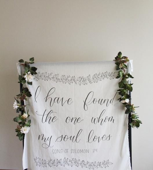 Song of Solomon Hand-lettered Wedding Tapestry