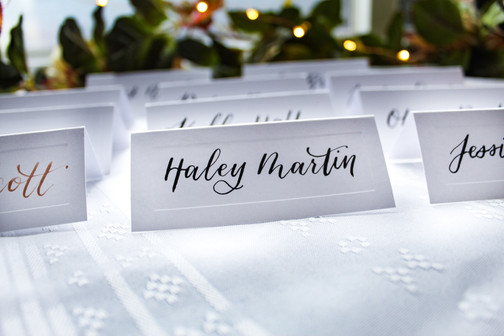 White Tent Place Cards