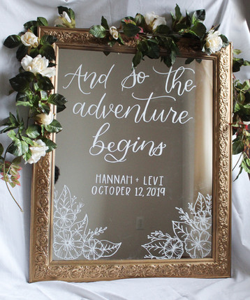 Custom Wedding Welcome Sign on Mirror