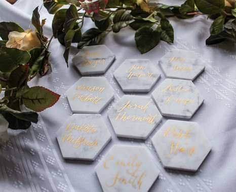 Marble Place Cards with Gold Ink Calligraphy