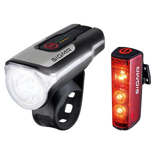 Iluminação Dianteira e Traseira SIGMA AURA 80 FRONTLIGHT REARLIGHT BLAZE
