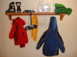 clothes on a shelf mural