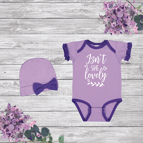 Isn't She Lovely Ruffle Onesie and Bow Beanie Set
