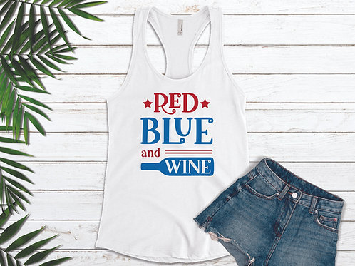 Red Blue and Wine Ladies Tank