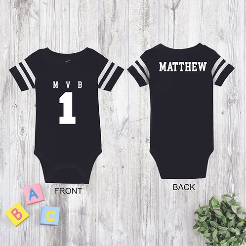 Personalized M.V.B Football Jersey Onesie