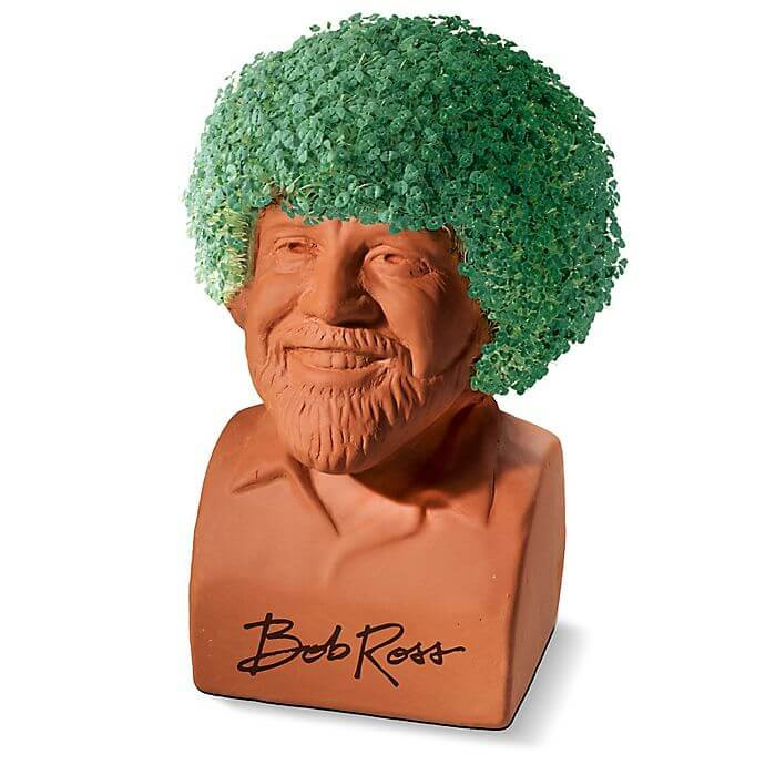 The Bob Ross Chia Pet is a nostalgic and funny white elephant exchange gift.