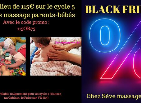 Black Friday - Sève Massage - 75€ au lieu de 115€ sur le cycle 5 séances massage bébé