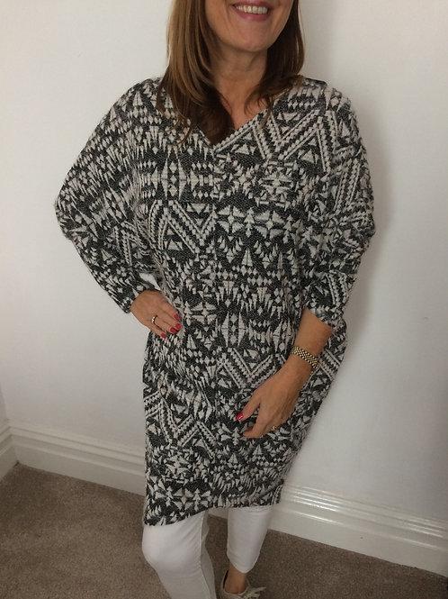 Charcoal Aztec Print Knit Tunic