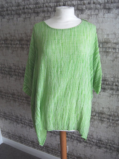 Green & White Linen Top