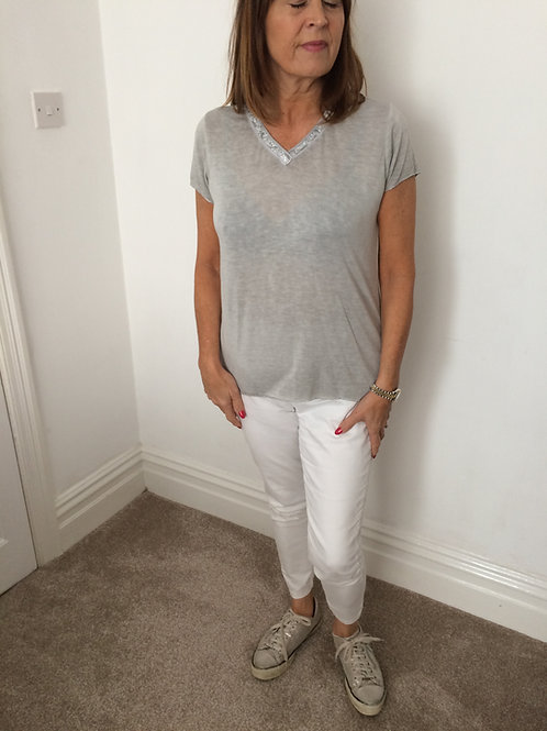 Grey lightweight t shirt with silver trim and silver embellishment
