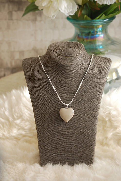 Light Grey Heart Long Necklace