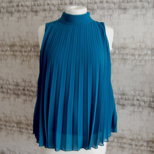 Teal Blue Pleated Top
