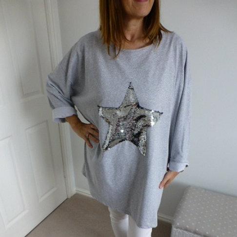 Grey Sequin Star Tunic