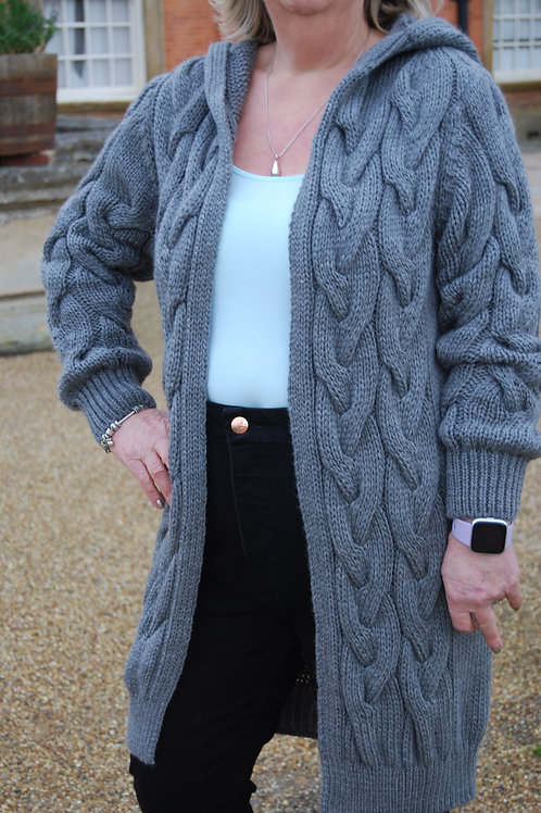 Grey Cable Knit Hooded Cardigan
