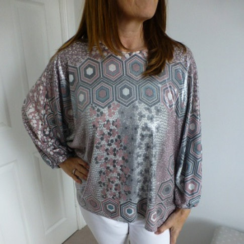 Geometric Batwing Top
