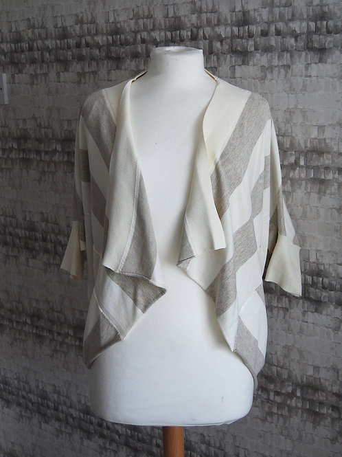 White & Grey Striped Waterfall Cardigan