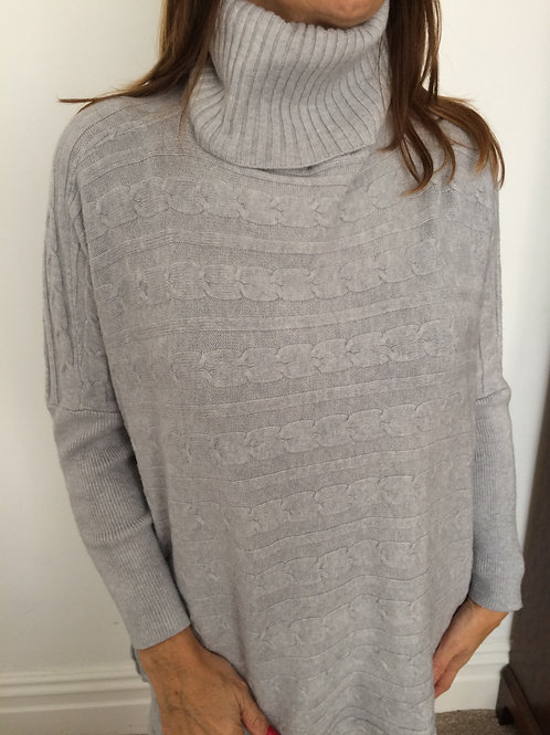 Silver Grey Cable Knit Jumper