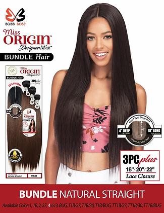 "Bobbi Boss Miss Origin 3PC Straight 18""20""22"" + Closure Human Hair Blend Weave"