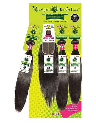 Janet Collection Bundle Natural Straight with Lace Closure Human Hair Weave
