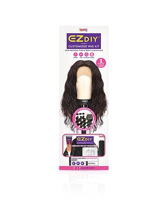 Janet EZ DIY Wig Kit Remy Human Hair 3PC + 4x4 Free Part Closure Body Wave
